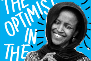 Rep. Ilhan Omar smiling in front of a blue background